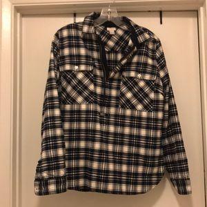 Half zip flannel shirt